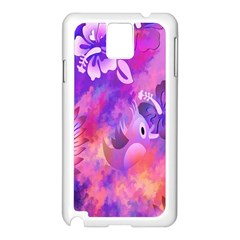 Abstract Flowers Bird Artwork Samsung Galaxy Note 3 N9005 Case (White)