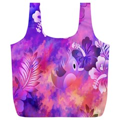 Abstract Flowers Bird Artwork Full Print Recycle Bags (l)