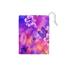 Abstract Flowers Bird Artwork Drawstring Pouches (Small)
