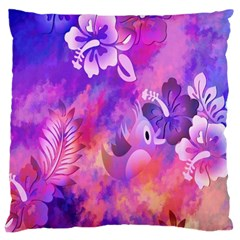Abstract Flowers Bird Artwork Standard Flano Cushion Case (Two Sides)