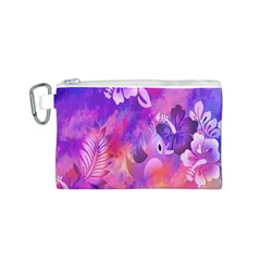 Abstract Flowers Bird Artwork Canvas Cosmetic Bag (s)