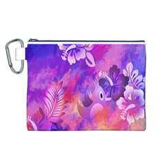 Abstract Flowers Bird Artwork Canvas Cosmetic Bag (l)