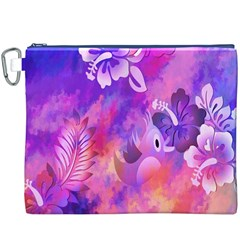 Abstract Flowers Bird Artwork Canvas Cosmetic Bag (XXXL)
