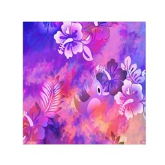 Abstract Flowers Bird Artwork Small Satin Scarf (Square)