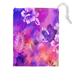 Abstract Flowers Bird Artwork Drawstring Pouches (XXL)