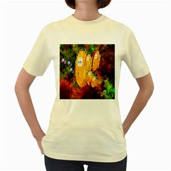 Abstract Fish Artwork Digital Art Women s Yellow T-Shirt