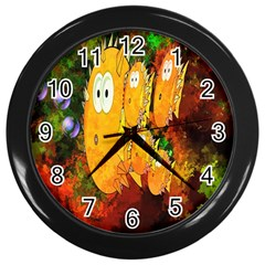 Abstract Fish Artwork Digital Art Wall Clocks (Black)