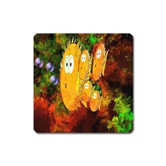 Abstract Fish Artwork Digital Art Square Magnet