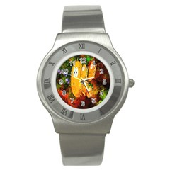 Abstract Fish Artwork Digital Art Stainless Steel Watch