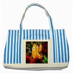 Abstract Fish Artwork Digital Art Striped Blue Tote Bag