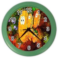 Abstract Fish Artwork Digital Art Color Wall Clocks