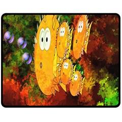 Abstract Fish Artwork Digital Art Fleece Blanket (Medium)
