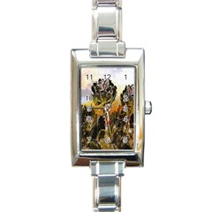 Abstract Digital Art Rectangle Italian Charm Watch