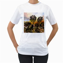 Abstract Digital Art Women s T-Shirt (White) (Two Sided)