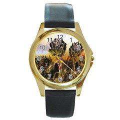 Abstract Digital Art Round Gold Metal Watch