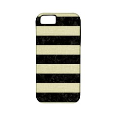 Stripes2 Black Marble & Beige Linen Apple Iphone 5 Classic Hardshell Case (pc+silicone)