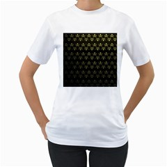 Abstract Skulls Death Pattern Women s T-Shirt (White) (Two Sided)