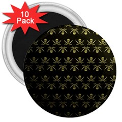 Abstract Skulls Death Pattern 3  Magnets (10 pack)