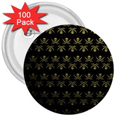 Abstract Skulls Death Pattern 3  Buttons (100 pack)