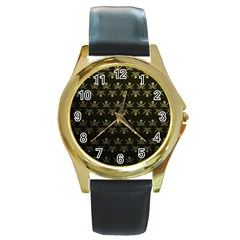 Abstract Skulls Death Pattern Round Gold Metal Watch