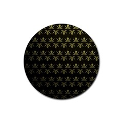 Abstract Skulls Death Pattern Rubber Coaster (Round)