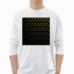 Abstract Skulls Death Pattern White Long Sleeve T-Shirts