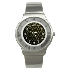Abstract Skulls Death Pattern Stainless Steel Watch