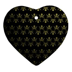 Abstract Skulls Death Pattern Heart Ornament (Two Sides)