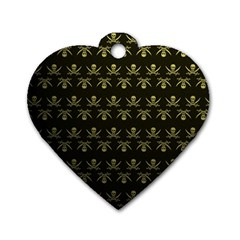 Abstract Skulls Death Pattern Dog Tag Heart (Two Sides)