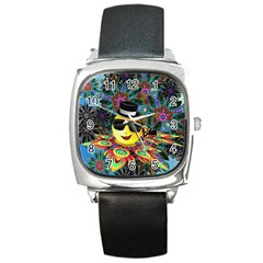 Abstract Digital Art Square Metal Watch