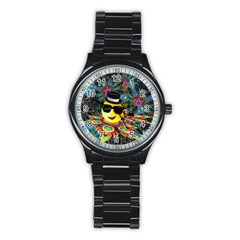 Abstract Digital Art Stainless Steel Round Watch