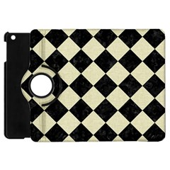 Square2 Black Marble & Beige Linen Apple Ipad Mini Flip 360 Case