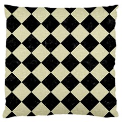 Square2 Black Marble & Beige Linen Standard Flano Cushion Case (two Sides)