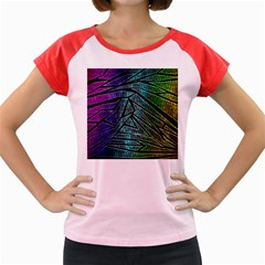 Abstract Background Rainbow Metal Women s Cap Sleeve T-Shirt