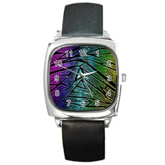 Abstract Background Rainbow Metal Square Metal Watch