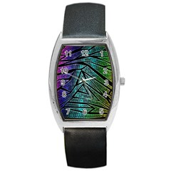 Abstract Background Rainbow Metal Barrel Style Metal Watch