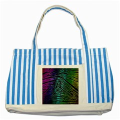 Abstract Background Rainbow Metal Striped Blue Tote Bag
