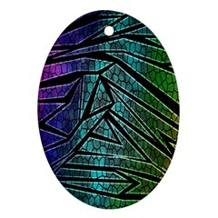Abstract Background Rainbow Metal Oval Ornament (Two Sides)