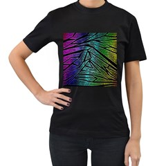Abstract Background Rainbow Metal Women s T-Shirt (Black)