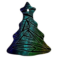 Abstract Background Rainbow Metal Christmas Tree Ornament (Two Sides)