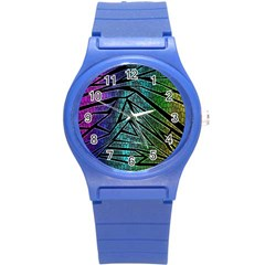 Abstract Background Rainbow Metal Round Plastic Sport Watch (S)