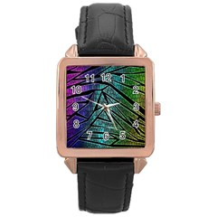 Abstract Background Rainbow Metal Rose Gold Leather Watch
