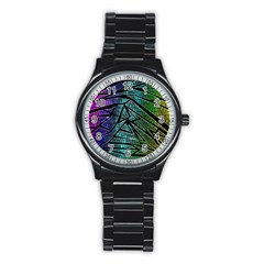 Abstract Background Rainbow Metal Stainless Steel Round Watch