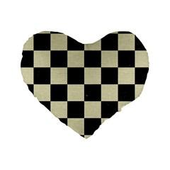 Square1 Black Marble & Beige Linen Standard 16  Premium Heart Shape Cushion