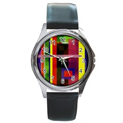Abstract Art Geometric Background Round Metal Watch
