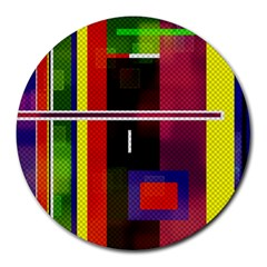 Abstract Art Geometric Background Round Mousepads