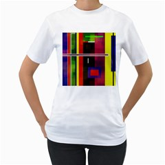 Abstract Art Geometric Background Women s T Shirt (white) (two Sided)