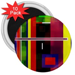 Abstract Art Geometric Background 3  Magnets (10 pack)