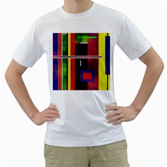 Abstract Art Geometric Background Men s T-Shirt (White) (Two Sided)