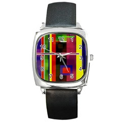 Abstract Art Geometric Background Square Metal Watch